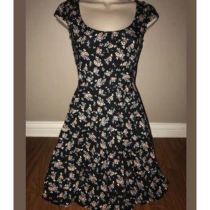 Black Floral Scoop Neck Skater Dress